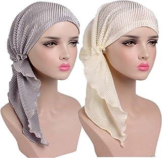 Simoda Soft Ruffle Chemo Hat Pre-Tied Cancer Headwear Bandana for Hair Loss(2 Pack)
