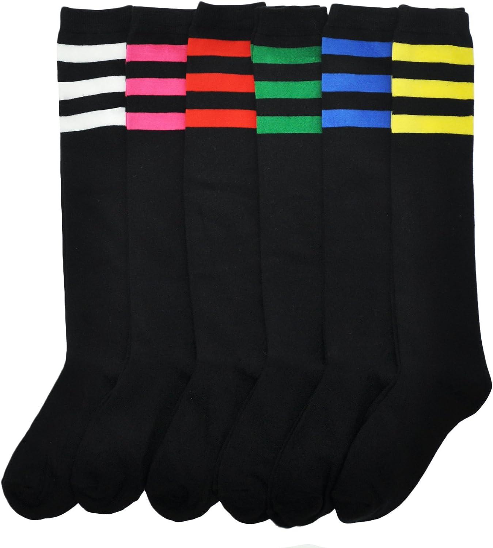 Angelina 6-Pair Referee Knee High Socks, Black on Color Stripes