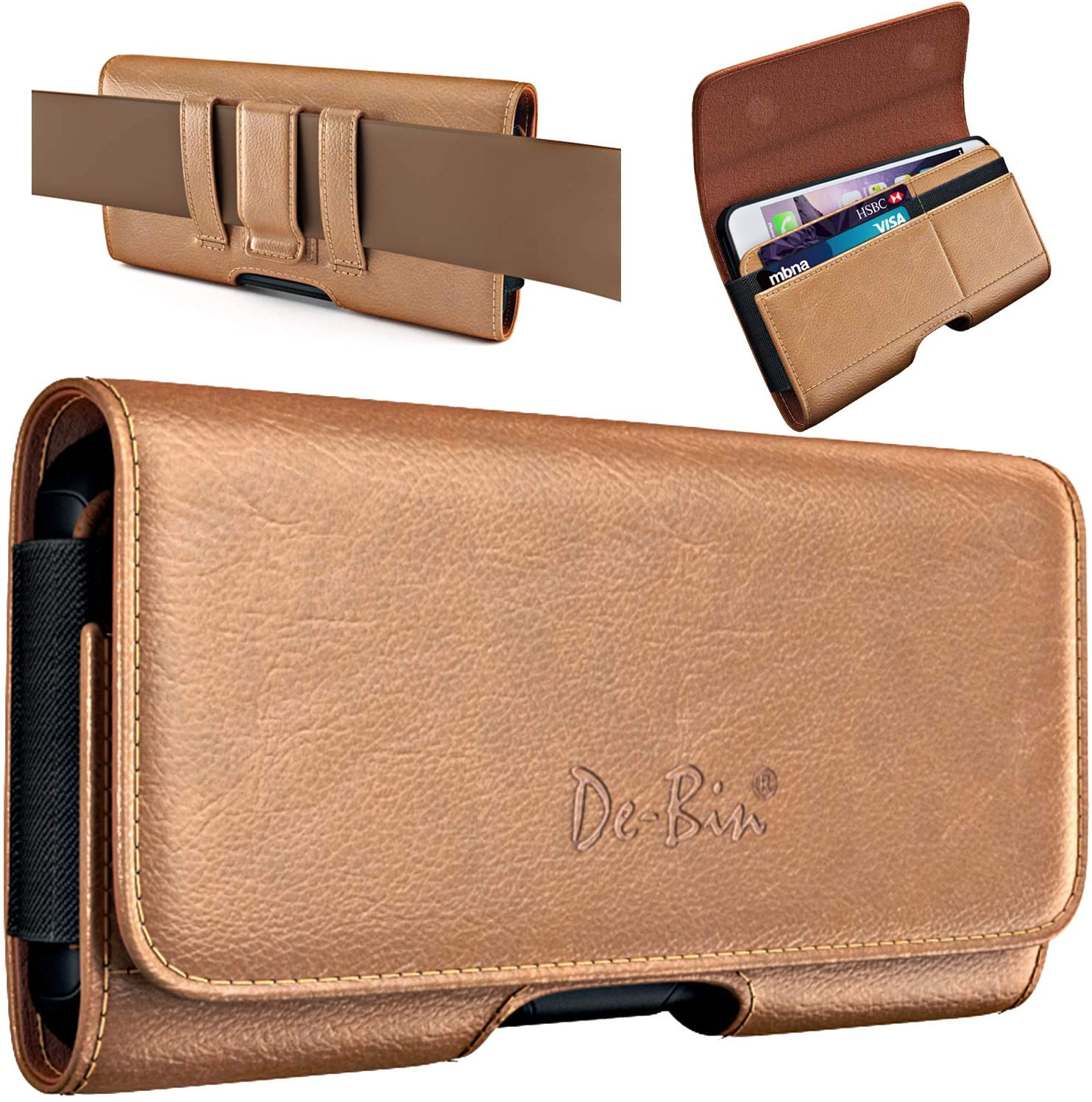 De-Bin Phone Holster Case Designed for iPhone 13 Pro Max, 12 Pro Max, 11 Pro Max, Xs Max Belt Case Holder Pouch with Belt Clip and Loops Card Pocket Sleeves Fits Apple Large iPhone with Case on Brown
