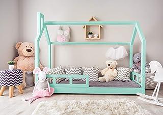 Générique Lit cabane en Bois pour l'enfant avec barrières 190x90 cm; modèle L; Couleur Menthe