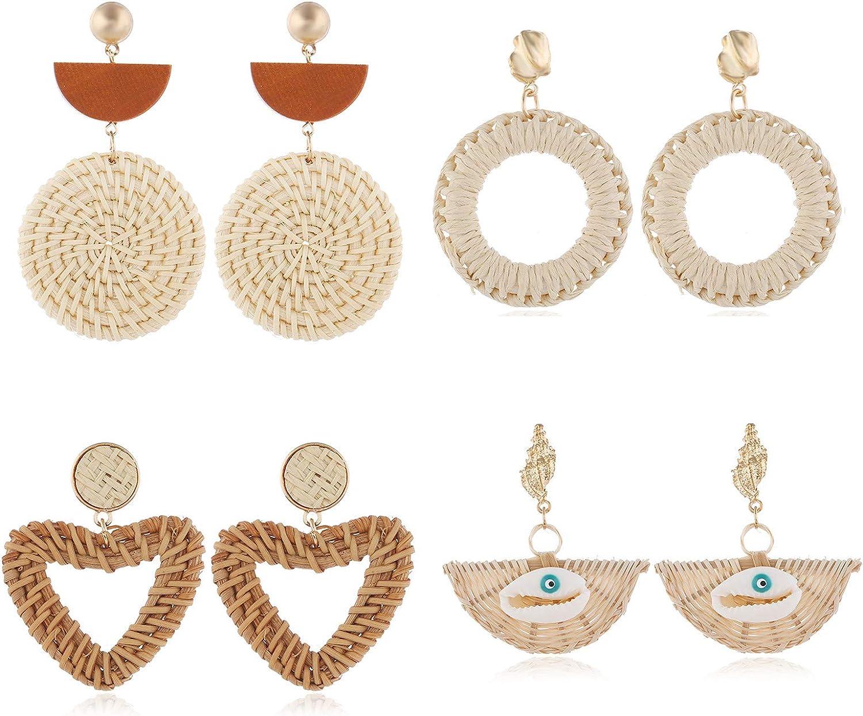4 Pairs Rattan Earrings Lightweight Geometric Rattan Drop Dangle Earrings Handmade Straw Wicker Braid Hoop Drop Dangle Earrings Bohemian Geometric Statement Earrings For Women Girl