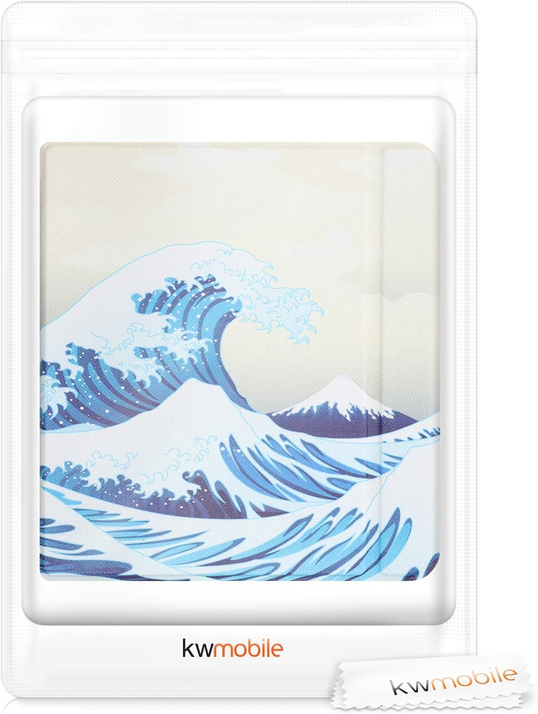 PU e-Reader Cover Japenese Wave Blue//White//Beige kwmobile Case Compatible with Kobo Libra H2O