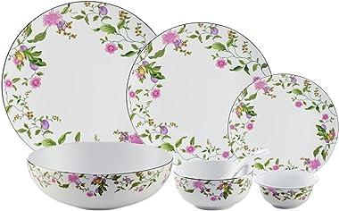 Hitkari Potteries Porcelain Dinnerware Set, 33-Pieces, White (16522) (HSP33-16522)