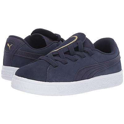 Puma Kids Suede Crush Slip-On (Little Kid) (Peacoat/Puma Team Gold) Girls Shoes