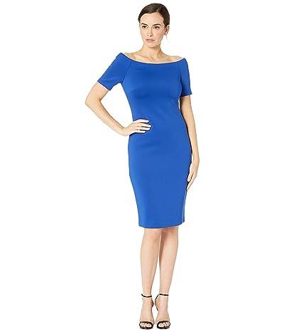Calvin Klein Bateau Neck Short Sleeve Sheath Dress (Regatta) Women