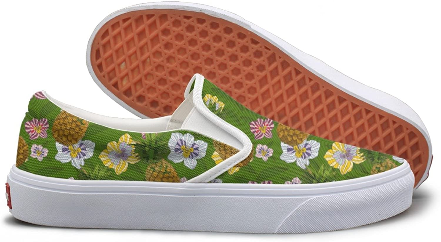 SEERTED Pineapple and Flowers Tropical Leaves Canvas Slip On shoes for Women