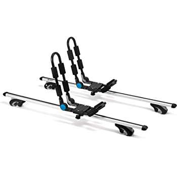 Kayak Roof Rack by Vault Cargo – Set of Two Kayak Roof Rack J-Bar Racks That Mount to Your Vehicle's roof Rack Cross Bars. Folding Carrier for Your Canoe, SUP and Kayaks on Your SUV, car or Truck.