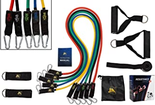 JK Rise Premium Resistance Bands Set (12-PC) with 5 Exercise Bands/Workout Bands Stackable to 150lbs. Latex Rubber Resista...