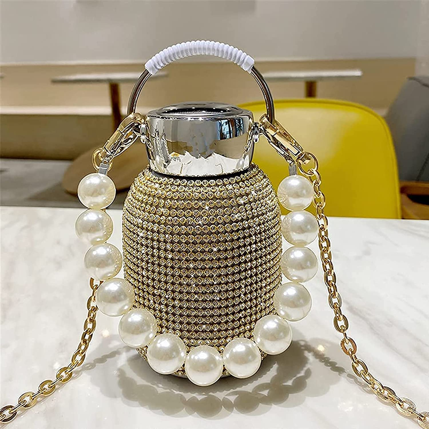 300ML New Diamond Oklahoma City Mall Thermos Water Fash Pearl Popular product with Bracelet Bottle