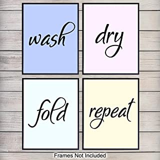 Laundry Room Art Prints - Contemporary Wall Art Poster Set - Chic Modern Home Decor - Great Affordable Funny Gift for Women or Housewarming Gift - 8x10 Photo - Unframed
