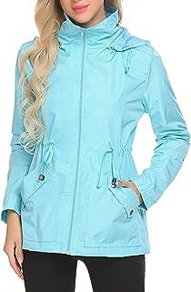 Lomon Chaqueta Impermeable para Lluvia Ligera de Mujer, Gabardina Resistente al Viento con Capucha, Abrigo