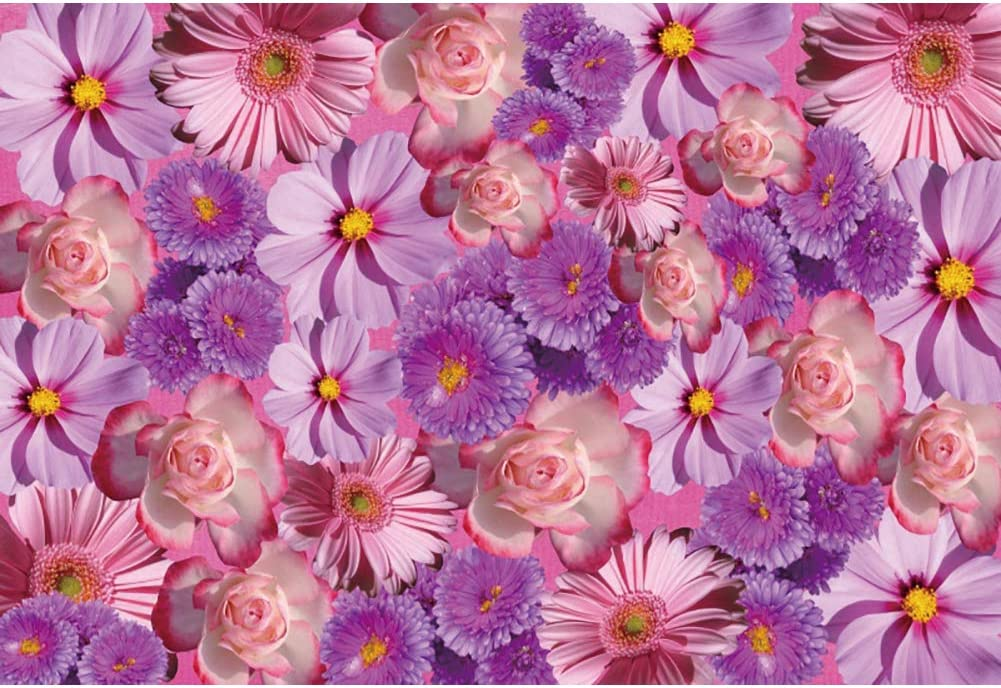 Laeacco Floral Backdrop 10x6.5ft Vinyl Photography Background Coreopsis Chrysanthemum Purple Pink Flowers Backdrop Romantic Wedding Photo Studio Prop Bridal Shower Banner Mothers Day Photo Booth
