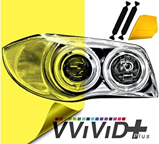 VViViD Air-Tint Extra-Wide Headlight Taillight Vinyl Tint Wrap 16 Inch x 48 Inch Roll Including Yellow Squeegee & 2X Black Felt Edge Decals (Bright Yellow)