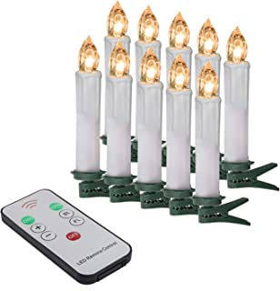 """Youngerbaby Set of 10 Warm White LED Taper Candles Battery Operated Lights with Remote Control, Brightly Flameless Flickering 4"""" Candles With Removable Clips for Window, Chandelier, Holiday and Gift"""