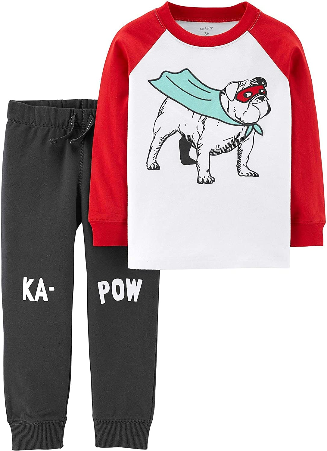 Carters Baby Boys Super Hero Dog Jogger Pants Set 12 Months Ivory/Grey/red