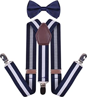 YJDS Men's Boys' Leather Suspenders and Pre Tied Bowtie Set