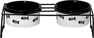 Signature Housewares Fish Cat Set of 2 Bowls with St&