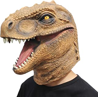 CreepyParty Novelty Halloween Costume Party Latex Animal Head Mask T-rex Dinosaur Mask
