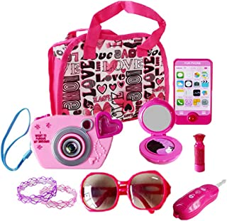 My First Purse Pretend Role Play Beauty Set for Girls, with Storage Bag, Cell Phone, Car Key, Play Lipstick, Sun Glasses, Camera, Compact & Bracelet, 9 Pcs Educational Toy for Fun Learning