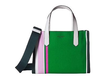 Kate Spade New York Kitt Stripe Medium Satchel (Conifer Multi) Handbags