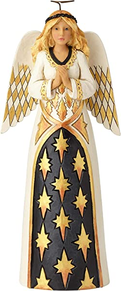 Enesco Jim Shore Heartwood Creek Black And Gold Praying Angel Figurine 10 28 Multicolor