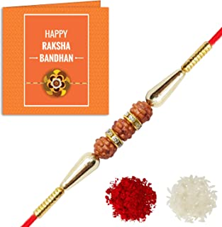 YouBella Rakhi and Greeting Card Combo for Brother (Multi-Colour) (YBRK_78)