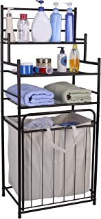 Mythinglogic Laundry Hamper with 3 -Tier Storage Shelves Bathroom Tower Storage Organizer with Dual Compartment Removeable Hamper for Bathroom, Laundry Room