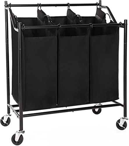 SONGMICS Rolling Laundry Cart Sorter, with 3 Removable Bags, Casters and Brakes, Black