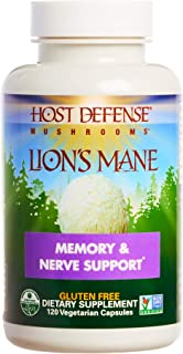 Host Defense, Lion's Mane Capsules, Promotes Mental Clarity, Focus and Memory, Daily Mushroom Supplement, Vegan, Organic, ...
