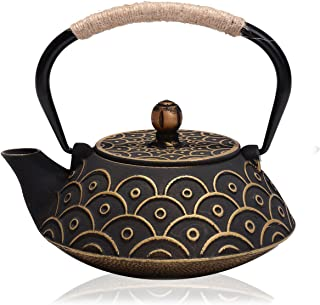 JUEQI Japanese Cast Iron Teapot Kettle with Stainless Steel Infuser/Strainer, 27 Ounce (800 ML)