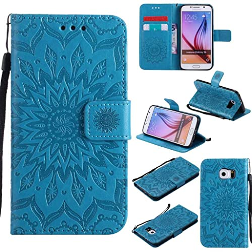 acfc4125eb KKEIKO Galaxy S6 Case, Galaxy S6 Flip Leather Case [with Free Tempered  Glass Screen