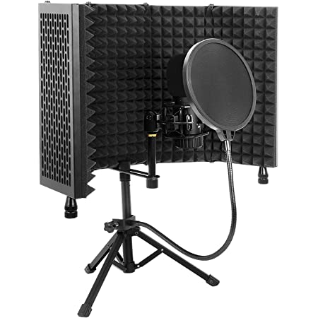 Iouyk Microphone Isolation Shield, Portable and Foldable Sound Protection Shield, with Tripod and Pop-Up Filter, High Density Absorbent Foam Is Used To Filter Vocal, Suitable for Singing, Music Studio