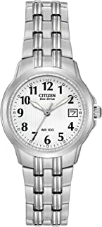 Eco-Drive Corso Quartz Womens Watch, Stainless Steel, Classic, Silver-Tone (Model: EW1540-54A)