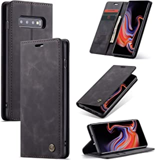 COPAAD Samsung Galaxy S10+ Wallet Case,Galaxy S10 Plus Wallet Case, Vintage Style Matte Texture High-end Soft PU Leather Magnetic Flip Cover Wallet Case for Galaxy S10+, Black