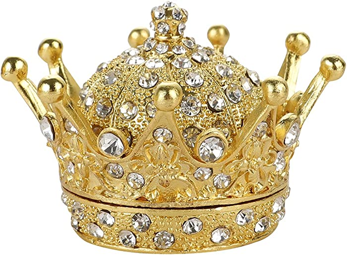 Hand Painted Gold Crown Figurine Jewelry Trinket Box Wedding Favor Gift Ring Holder Desk Decor