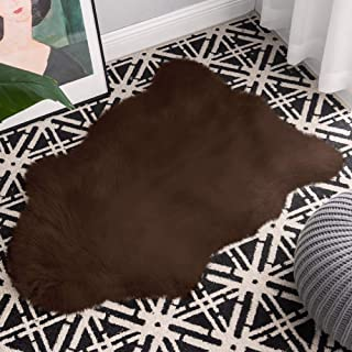 Carvapet Luxury Soft Faux Sheepskin Fur Pad Plush Area Rugs for Bedroom and Living Room, 2ft x 3ft, Brown