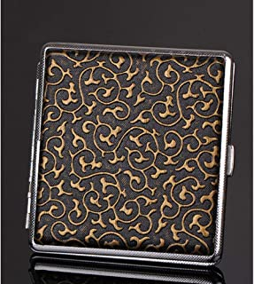 High-Grade Leather Cigarette Case, Stainless Steel Cigarette Case Portable Ultra-Thin Can Accommodate (Color : Gold)