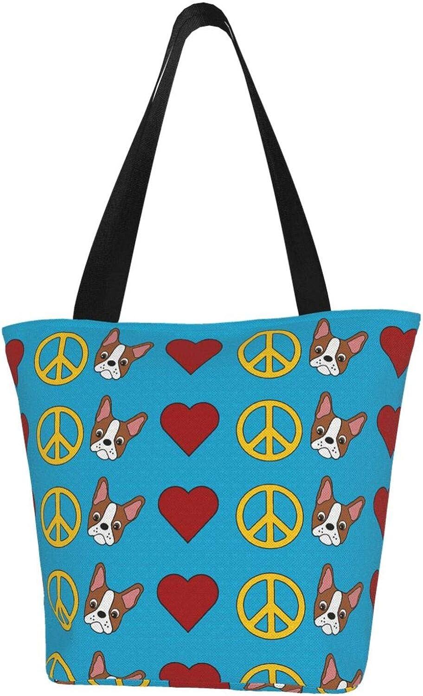 Blue Peace Sign Bulldog Themed Printed Women Canvas Handbag Zipper Shoulder Bag Work Booksbag Tote Purse Leisure Hobo Bag For Shopping