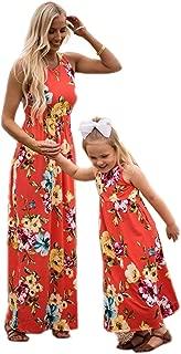 Mommy&Me Summer Family Matching Floral Dress Sleeveless Stitching Dress Parent-Child A-line Dress