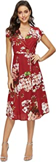 Women's Floral Wrap Dress Split V Neck Tie Front Chiffon Party Midi Dresses