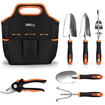 TACKLIFE 6 Piece Stainless Steel Heavy Duty Garden Tools Set, with Non-slip Rubber Grip, Storage Tote Bag, Outdoor Hand Tools, Garden Gift, Black and Orange GGT4A