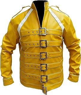 de58b7052 LEATHER FASHIONS Freddie Mercury Concierto Correa Amarillo Chaqueta de Piel