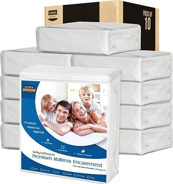 Utopia Bedding Zippered Waterproof Premium Mattress Encasement Bulk Pack Of 10 Twin Bed Bug Covers