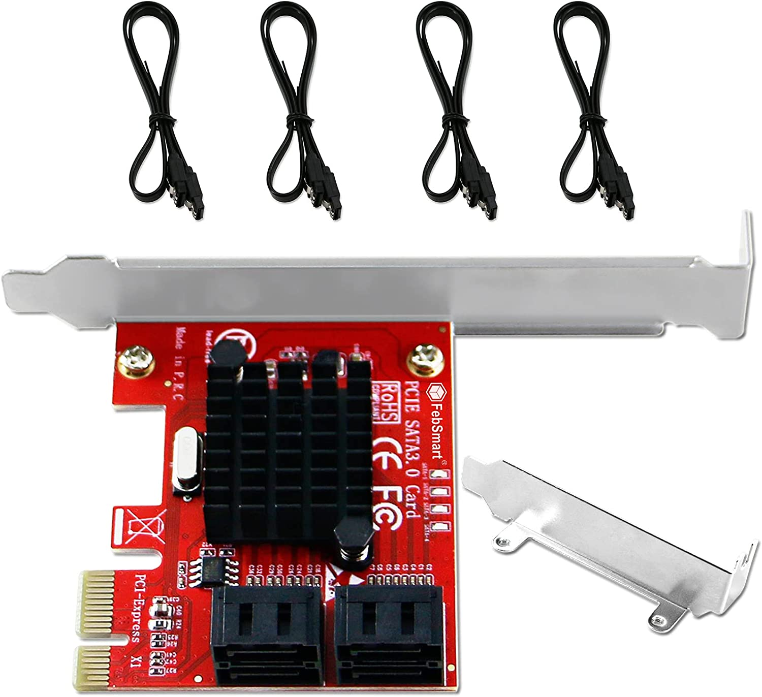 FebSmart PCIE to 4-Ports SATA Genuine 3.0 Card Speed Max Expansion Quality inspection 6Gbps