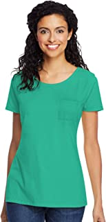 Hanes Women's Lightweight Short Sleeve Scoopneck Pocket T-Shirt