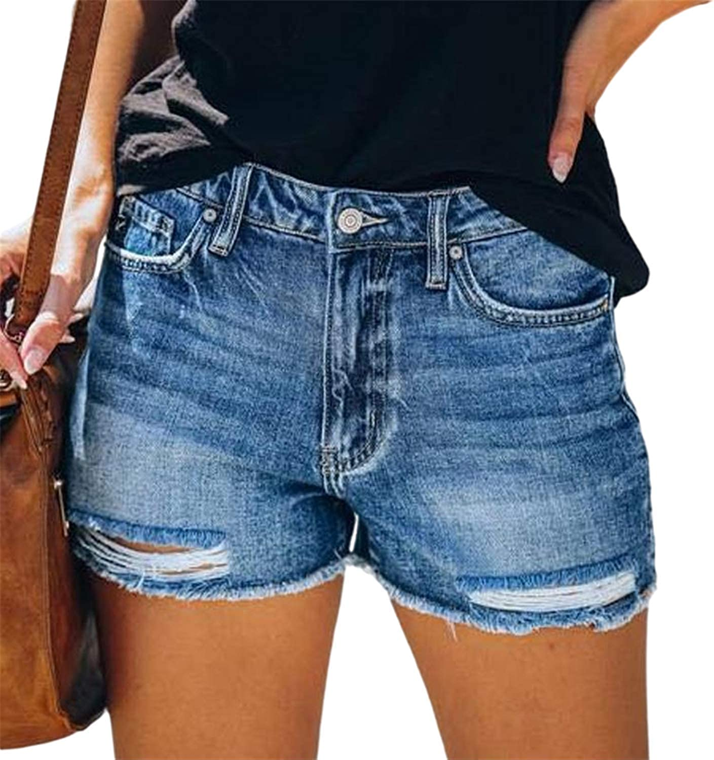 HAM Womens Short Classic Summer Ripped Denim Shorts Front Buttons Jeans
