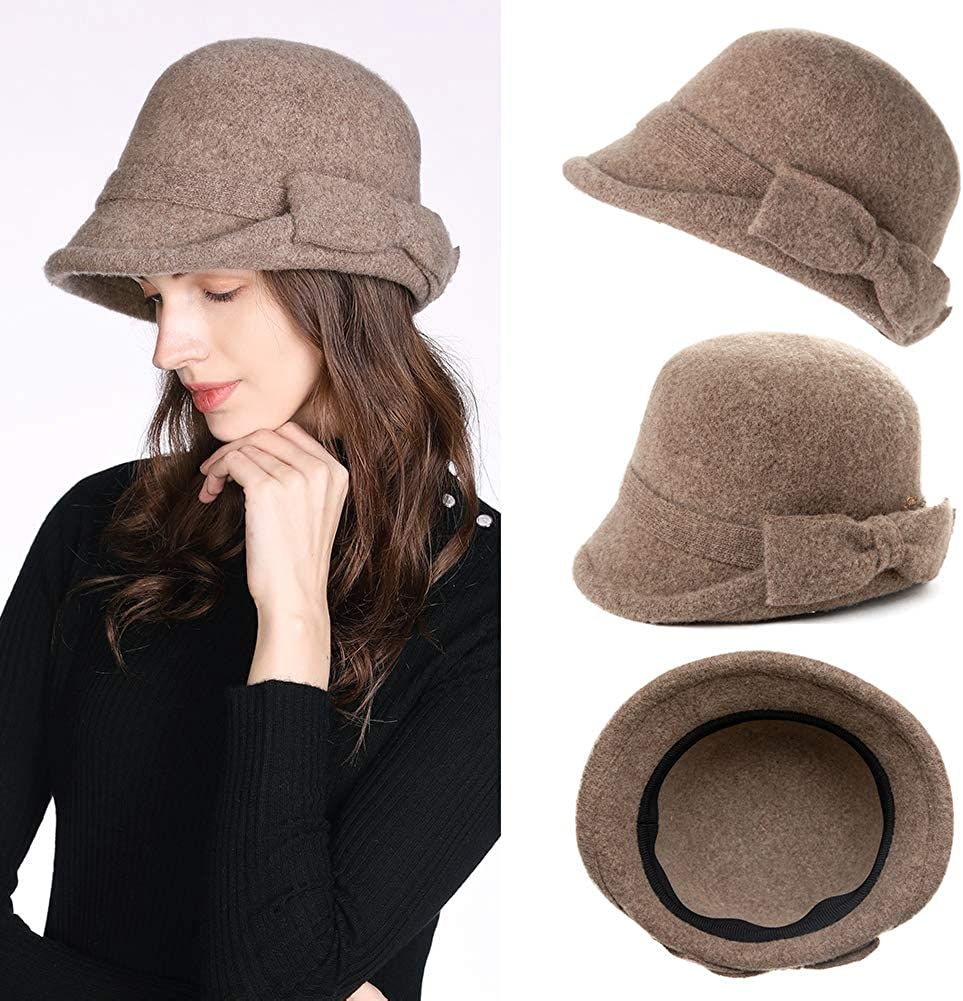 1920s Hat Styles for Women- History Beyond the Cloche Hat Jeff & Aimy Women Winter Wool Bucket Hat 1920s Vintage Cloche Bowler Hat with Bow/Flower Accent $22.99 AT vintagedancer.com