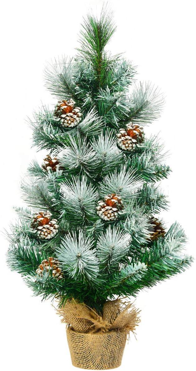 Goplus 24 inch Max 90% OFF Snowy Tabletop Xmas Pi Christmas Artificial Ranking TOP12 Tree