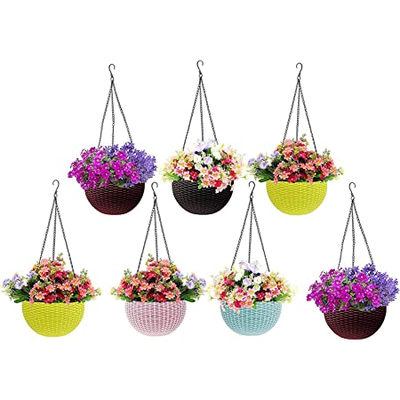 Go Hooked Plastic Hanging Planter, Multicolour, Pot Diameter -7.1 Inch, Pot Height -4.8 Inch, Pot Thickness -3 mm, Chain Length -13 inch approx., 7 Pieces