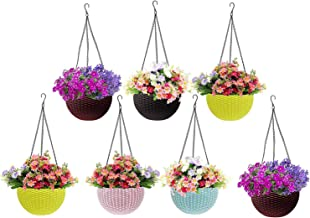 Go Hooked Multicolor Round Rattan Woven Plastic Flower Hanging Planter/Beautiful Round Gamla Pot/Flower Hanging Pot for Ga...
